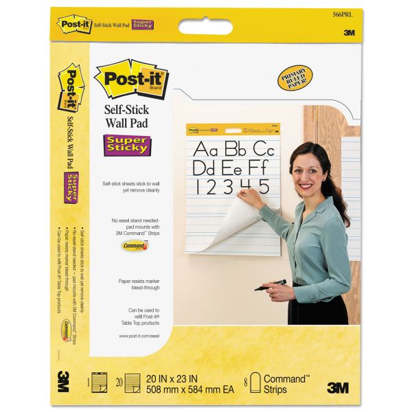 Post-it Self-Stick Ruled Wall Easel Pads