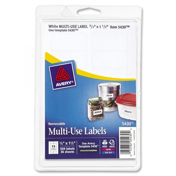 Avery Removable Multi-Use Labels, 3/4 x 1 1/2, White, 504/Pack