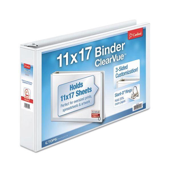"Cardinal 11 x 17 ClearVue 3-Ring View Binder, 2"" Capacity, Slant-D Ring, White"