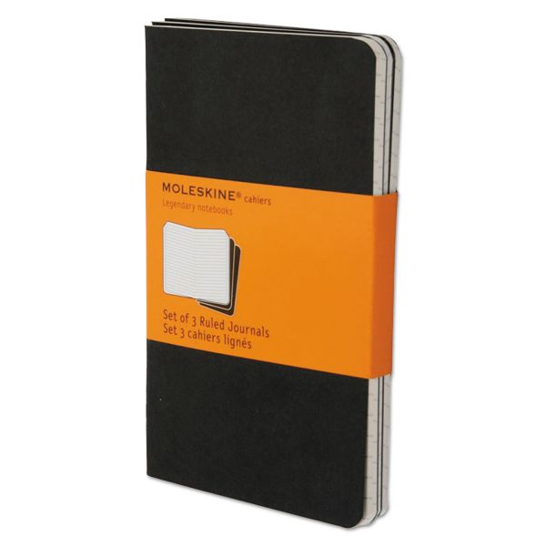 Moleskine Cahier Journal, Ruled, 5 1/2 x 3 1/2, Black Cover, 64 Sheets