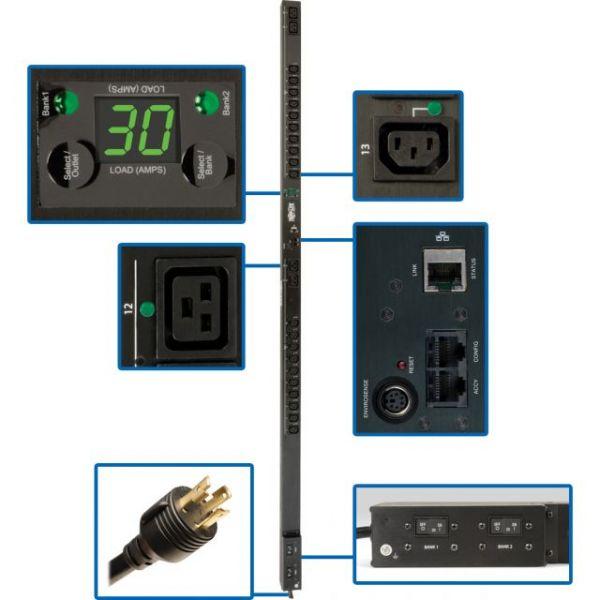 Tripp Lite PDU Switched 208V / 240V 30A 4 C19; 20 C13 L6-30P Vertical 0URM
