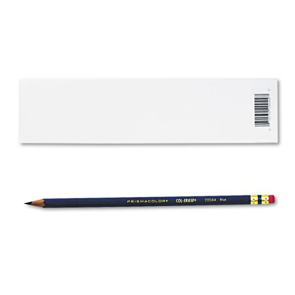Prismacolor Col-Erase Pencil w/Eraser, Blue Lead/Barrel, Dozen