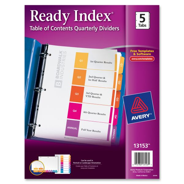 Avery Ready Table Of Contents Quarterly Index Dividers