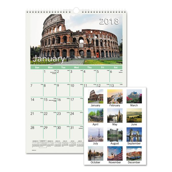 AT-A-GLANCE European Destinations Monthly Wall Calendar