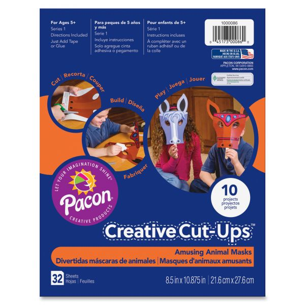 Pacon Creative Cut Ups, Amusing Animal Masks, 8 1/2 x 10 1/2, 32 Sheets