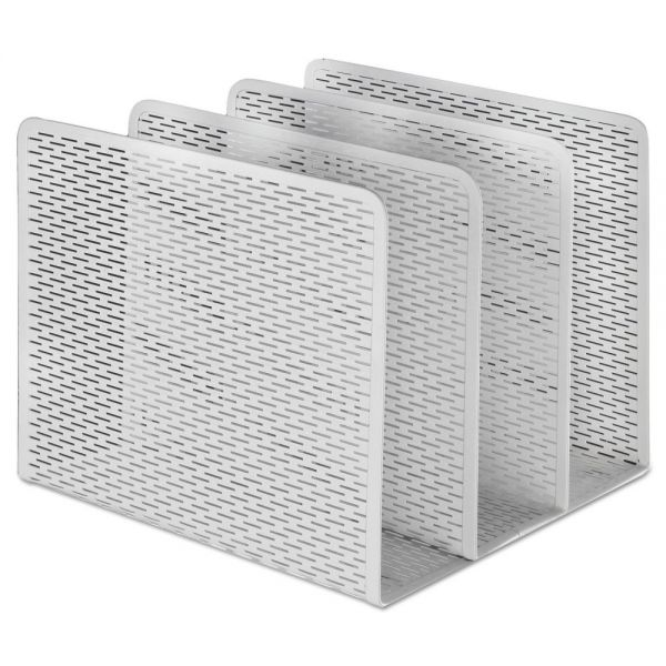 Artistic Urban Collection Punched Metal File Sorter, Three Sections, 8 x 8 x 7 1/4, White