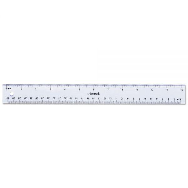 "Universal Clear Plastic Ruler, Standard/Metric, 12"""