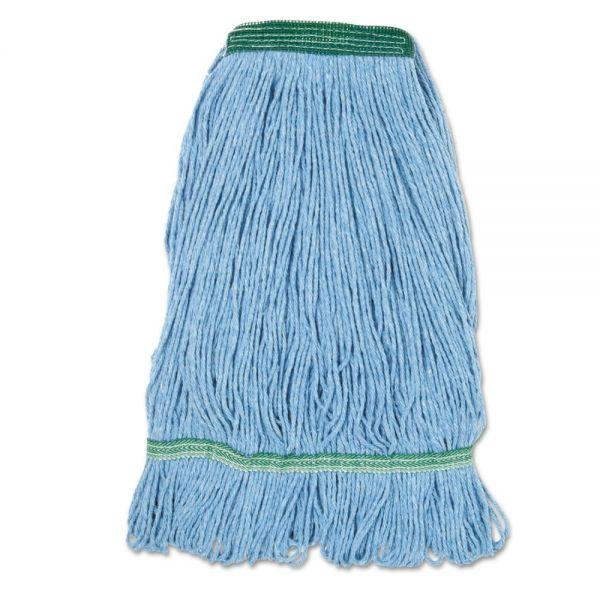 Boardwalk Super Loop Wet Mop Head, Cotton/Synthetic Fiber, Medium, Blue, 12/Ct