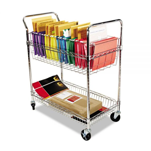 Alera Carry-all Cart/Mail Cart, Two-Shelf, 34-7/8w x 18d x 39-1/2h, Silver