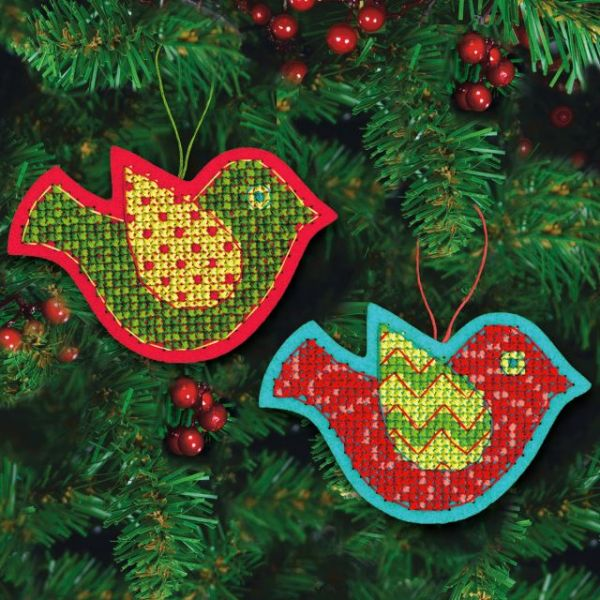 Jolly Bird Ornaments Felt Counted Cross Stitch Kit