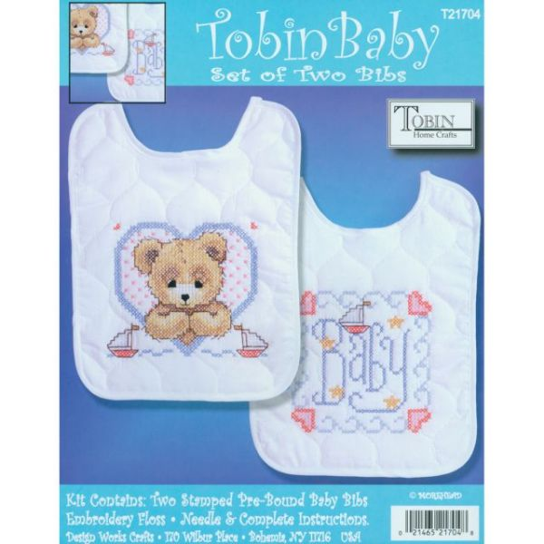 Bedtime Prayer Boy Bib Pair Stamped Cross Stitch Kit