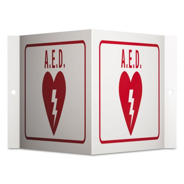 Quartet Projecting 3-Way Sign, AED, 6 x 9, Red/White