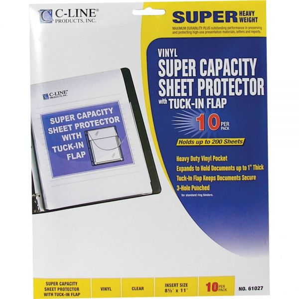 C-Line Super Capacity Top Loading Sheet Protectors With Tuck-In Flaps