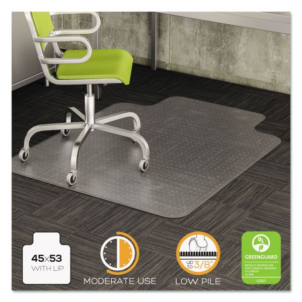 deflecto DuraMat Moderate Use Chair Mat for Low Pile Carpet, 45 x 53 w/Lip, Clear