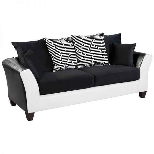 Flash Furniture Riverstone Implosion Black Velvet Sofa