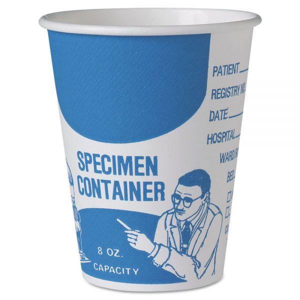 Dart Paper Specimen Cups, 8 oz, Blue/White, 20/Carton