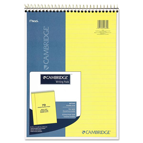 Cambridge Stiff Back Wire Bound Notebook, Legal Rule, 8 1/2 x 11, Canary Paper, 70 Sheets