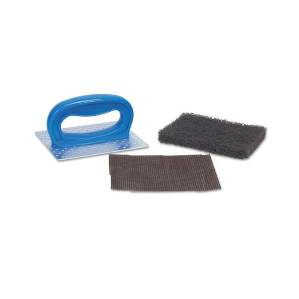 "Scotch-Brite PROFESSIONAL Griddle Pad Holder Kit, 4"" x 5 1/4"", Blue, 10/Carton"