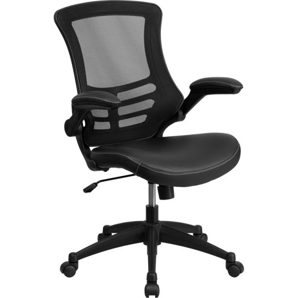 Flash Furniture Mid-Back Mesh Task Chair with Leather Padded Seat and Flip-Up Arms