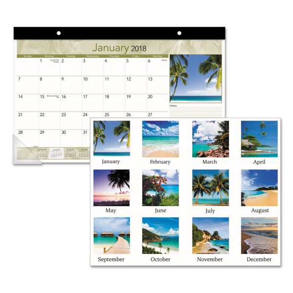 At-A-Glance Tropical Design Compact Monthly Desk Pad Calendar