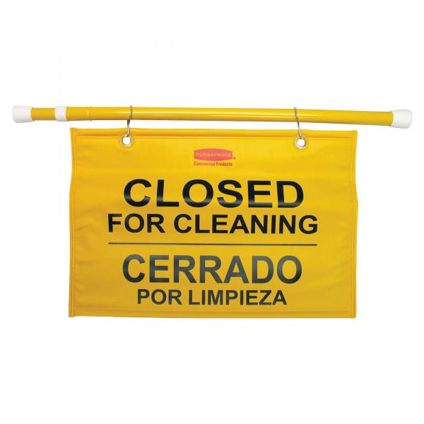 "Rubbermaid ""Closed For Cleaning/Cerrado Por Limpieza"" Safety Hanging Sign"