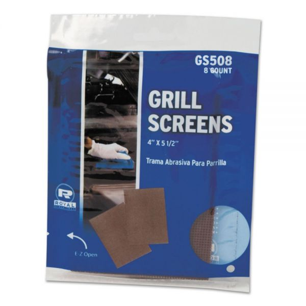 Royal Griddle-Grill Screen, Aluminum Oxide, Brown, 4 in x 5-1/2 in, 8/PK, 50 PK/CT