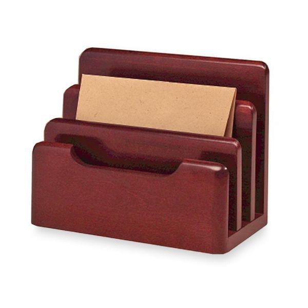 Rolodex Wood Tones Desktop Sorter, Three Sections, Wood, Mahogany