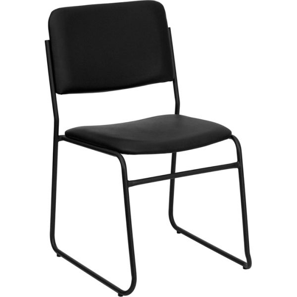 Flash Furniture HERCULES Series 1000 lb. Capacity High Density Black Vinyl Stacking Chair with Sled Base