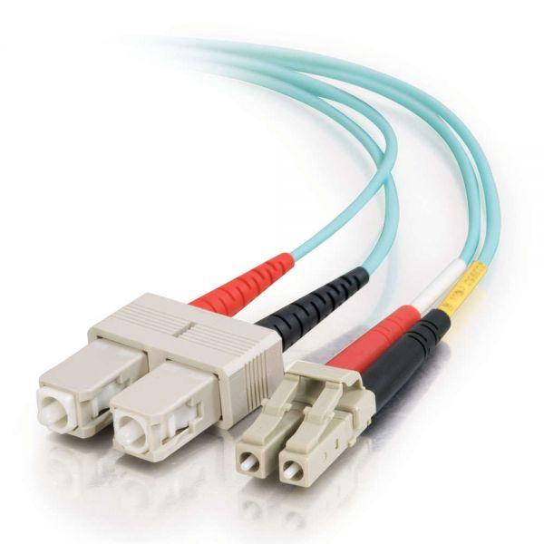 C2G 6m LC-SC 10Gb 50/125 Duplex Multimode OM3 Fiber Cable - Aqua - 20ft