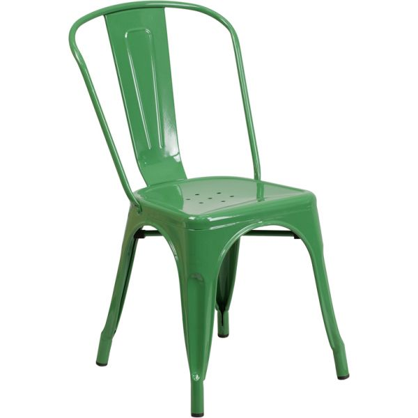 Flash Furniture Green Metal Indoor-Outdoor Stackable Chair