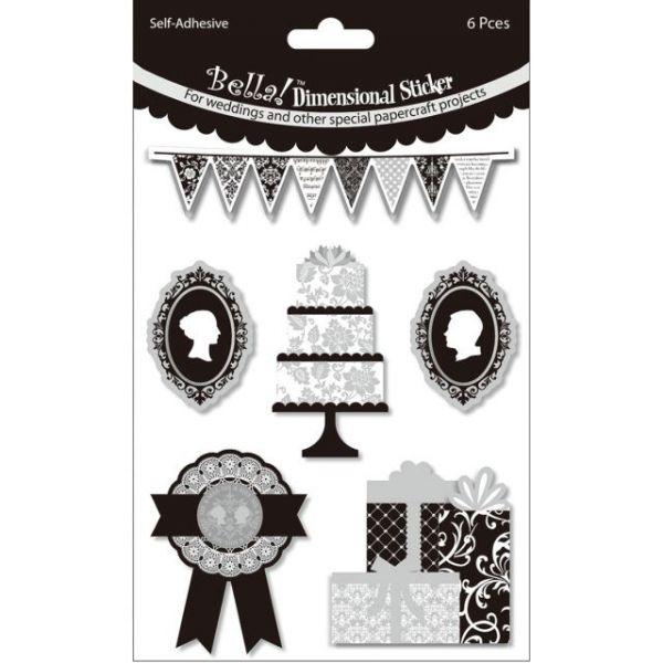 Bella! Wedding Glitter & Foil 3D Stickers