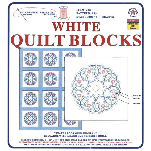 Jack Dempsey Stamped White Quilt Blocks