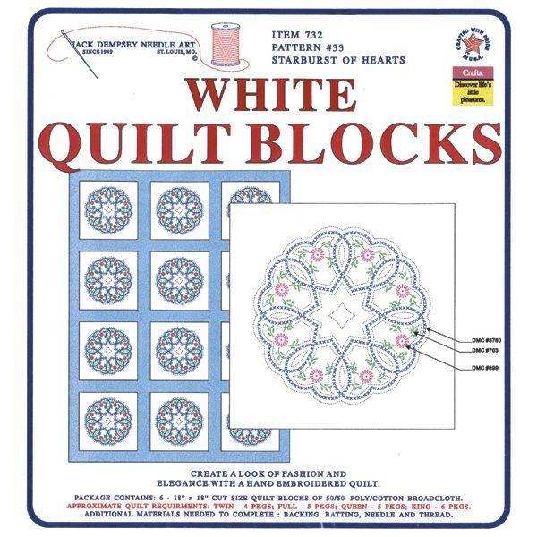 """Stamped White Quilt Blocks 18""""X18"""" 6/Pkg"""