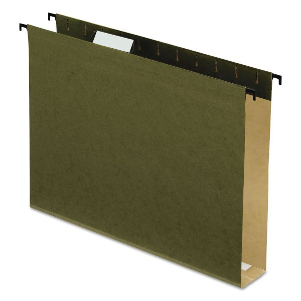 "Pendaflex Poly Laminate Hanging Folders, 1/5 Tab, 2"" Expansion, Letter, Green, 20/Box"