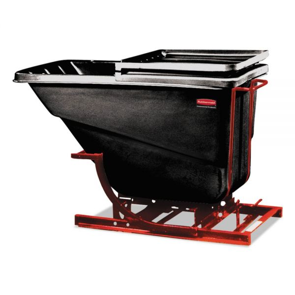 Rubbermaid Commercial Self-Dumping Hopper, 1 Cubic Yard, 1000 lb Capacity, Black/Red