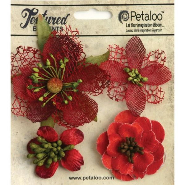 """Mixed Textured Blossoms 1.25"""" To 2.5"""" 4/Pkg"""