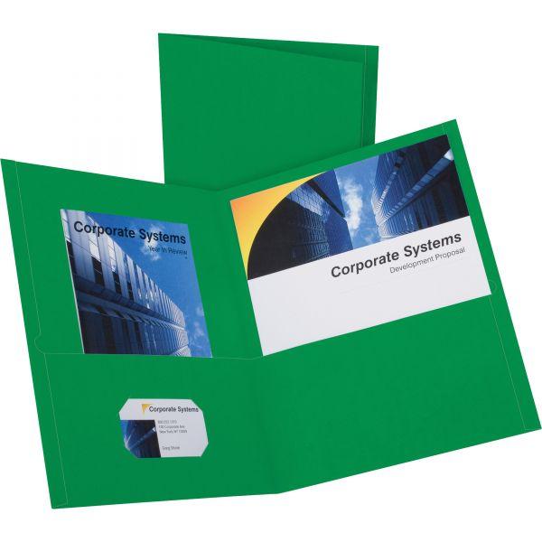 Oxford Twin-Pocket Folder, 100-Sheet Capacity, Hunter Green, 25/Box
