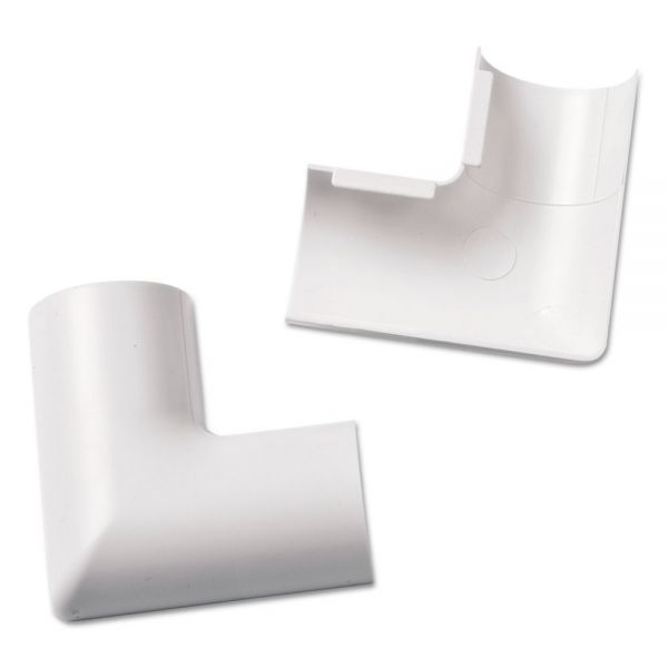 D-Line Clip-Over Flat Bend for Mini Cord Cover, White, 2 per Pack