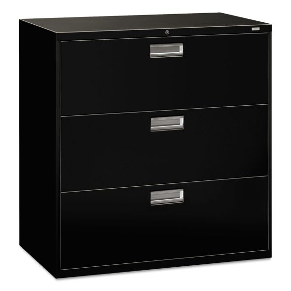 HON 600 Series Three-Drawer Lateral File, 42w x 19-1/4d, Black