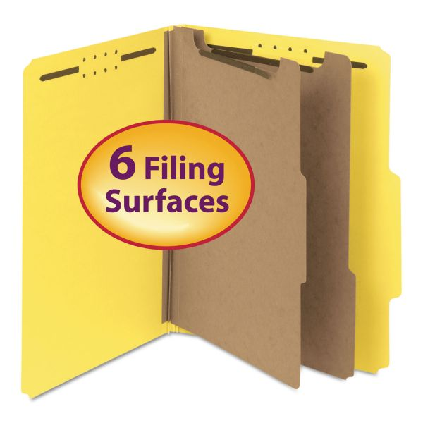 "Smead Pressboard Classification Folder, 2"" Exp., Two Dividers, Letter, Yellow, 10/Box"