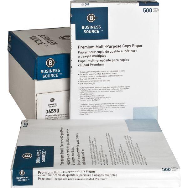 """Business Source Premium Multi-Purpose White 11"""" x 17"""" Copy Paper"""