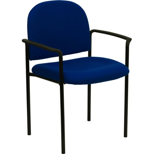 Flash Furniture Navy Fabric Comfortable Stackable Steel Side Chair with Arms