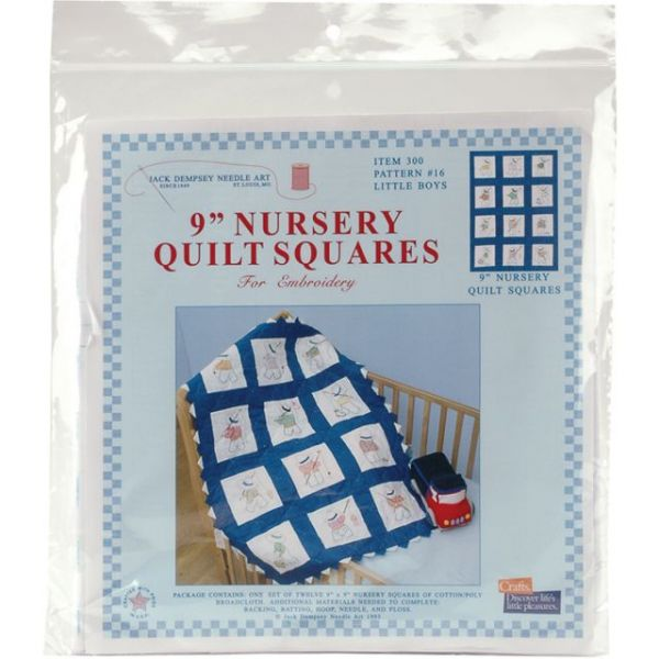"Stamped White Nursery Quilt Blocks 9""X9"" 12/Pkg"