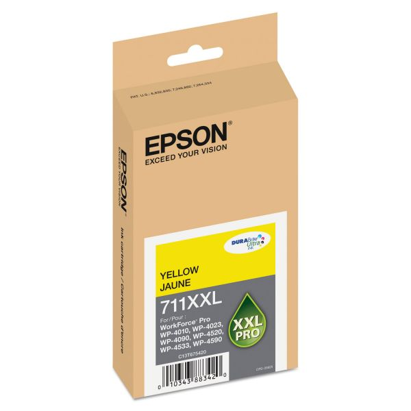 Epson 711 XXL Yellow High-Capacity Ink Cartridge (T711XXL420)