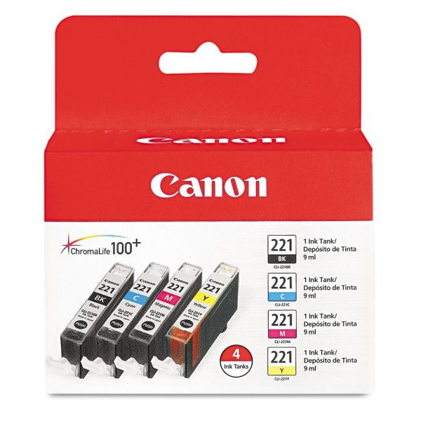 Canon CLI-221 Black/Color Multi-Pack Ink Cartridges