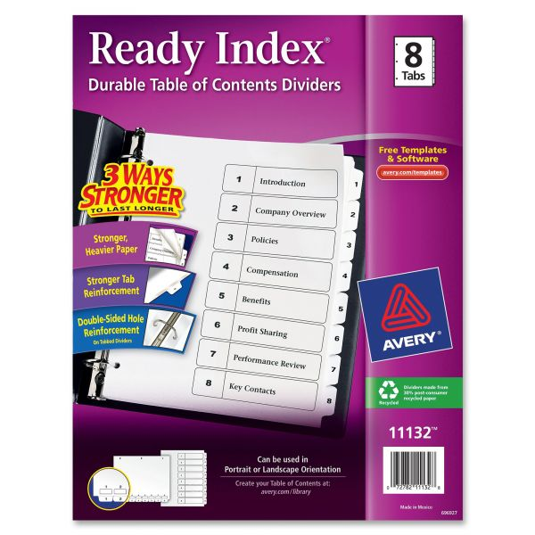 Avery Classic Ready Index 8-Tab Numbered Dividers With Table Of Contents Page