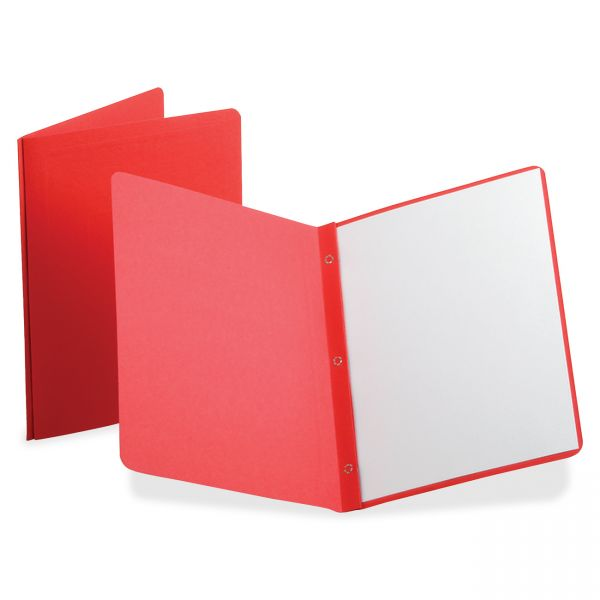 Oxford Report Cover, 3 Fasteners, Panel and Border Cover, Letter, Red, 25/Box