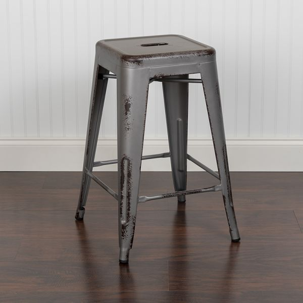 Amazing Flash Furniture 24 High Backless Distressed Silver Gray Metal Indoor Outdoor Counter Height Stool Uwap Interior Chair Design Uwaporg