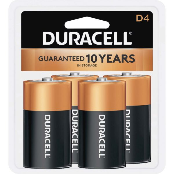 Duracell CopperTop Alkaline Batteries, D, 4/PK