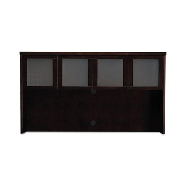 Mayline Mira Series Wood Veneer Framed Glass Hutch Doors, 17-1/2w x 19h, Espresso